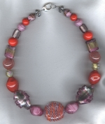 Pink/tangerine Venetian glass necklace VEN4269