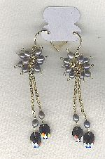 SPECIAL PURCHASE!! Freshwater seed pearl and Cubic Zirconia drop earrings PRL3191