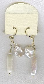 SPECIAL PURCHASE!!  Biwa and Keishi Freshwater pearl earrings PRL3194