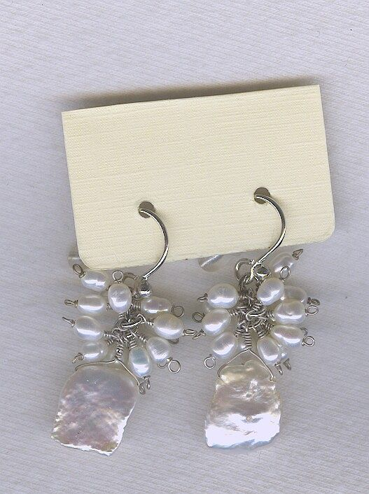 SPECIAL PURCHASE!! Freshwater seed & Keishi pearl and Cubic Zirconia drop earrings PRL3197