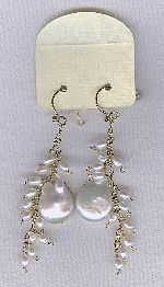 SPECIAL PURCHASE!!  Biwa Coin pearl and Freshwater seed pearl earrings PRL3204