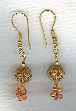 Orange Sapphire drop earrings FAC1986
