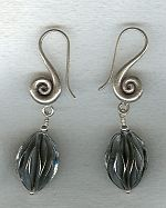 Hand made black anodized sterling pod earrings FAC1990