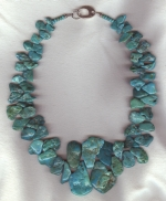 Mexican Turquoise nugget necklace NUG2740