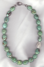 Natural green Mexican Turquoise necklace NUG2746
