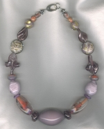 Plum/tangerine Venetian glass necklace from Murano VEN4282