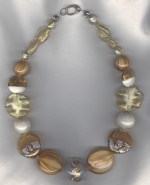 Gold/amber/white Venetian glass necklace from Murano VEN4283