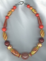 Lemon/tangerine Venetian glass necklace from Murano VEN4284