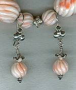 Hand carved natural pink Coral earrings FAC1622