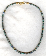 AAA quality faceted aqua Lightening Ridge black Australian Opal necklace CC6175