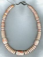 Peruvian Opal rondels with carved pink Coral necklace CC6094