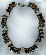 Cocoa Agate and Druzy Agate drops with Quartz necklace FAC1630