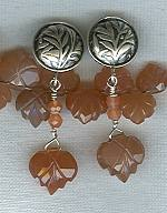 Peach Moonstone leaf earrings FAC1637