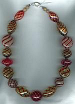 Red swirl blown Venetian glass Necklace VEN4181