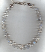 Faceted blue Moonstone and Rock Crystal Necklace FAC1996