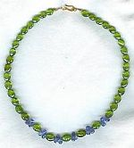 High quality faceted Peridot ovals and Tanzanite briolette necklace CC6050
