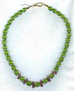 Peridot ovals with pink Tourmaline Necklace FAC1516