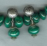 Green Malachite rondel earrings FAC1667
