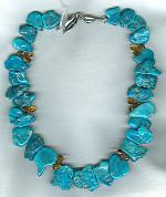 Sleeping Beauty Turquoise nuggets with Citrine necklace NUG2456