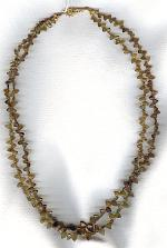 Hand carved olive Tourmaline necklace FAC1885