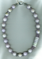 Lavendar Burmese Jade with 15mm Cape Amethyst necklace FAC8000