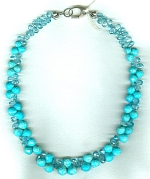 Sleeping Beauty Turquoise & Apatite briolette necklace FAC8002