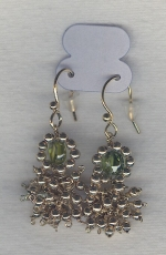 SPECIAL PURCHASE!!  Green faceted CZ drop earrings FAC8078