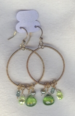 SPECIAL PURCHASE!!  Green faceted Peridot drop earrings FAC8088