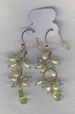 SPECIAL PURCHASE!! Green Freshwater seed pearl and faceted green CZ drop earrings PRL3172