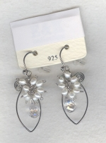 SPECIAL PURCHASE!! White Freshwater seed pearl and faceted quartz Crystal drop earrings PRL3175