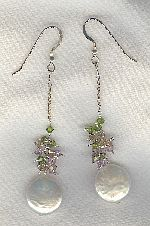 SPECIAL PURCHASE!! White Freshwater Biwa pearls and CZ earrings PRL3216