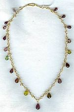 Handmade 18K gold chain with faceted Tourmaline teardrops CC6056