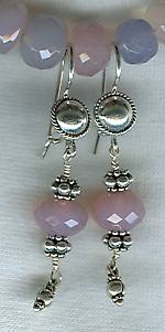 Faceted ice pink Chalcedony earrings FAC1527
