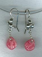Rhodocrosite shell earrings FAC1696