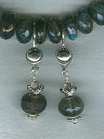 Faceted AA grade irridescent Labradorite rondel earrings FAC1701