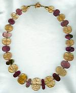 Imperial Topaz and pink Tourmaline necklace CC6182