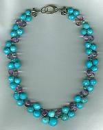 Faceted Sleeping Beauty Turquoise & Cape Amethyst necklace FAC8005