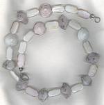 Pressed pink/white Chinese glass necklace VEN4305