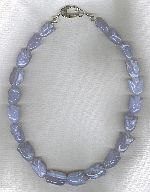 Blue Chalcedony carved tulips necklace FAC8179
