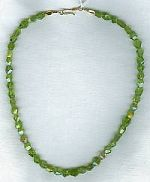 Faceted 8mm Peridot nugget necklace CC6061