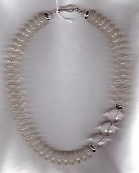 Rock Quartz Crystal saucer necklace FAC1719