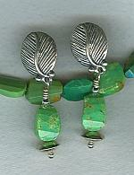 Kingman Mine green faceted Turquoise earrings FAC1722