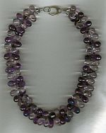 Pink and purple Ametheyst teardrop Necklace CC6141