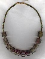 Olive green and pink watermelon Tourmaline Necklace CC6142