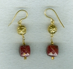 Natural Ruby cube earrings CC6195