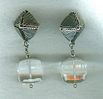 Rock Crystal Quartz cube earrings FAC8007