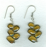 Faceted Whiskey Quartz leaf earrings FAC8010