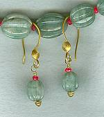 Carved Emerald melons and Ruby earrings FAC8012