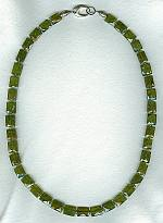 Faceted olive green Vessonite cushion necklace FAC8013