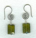 Faceted olive green Vessonite cushion earrings FAC8014